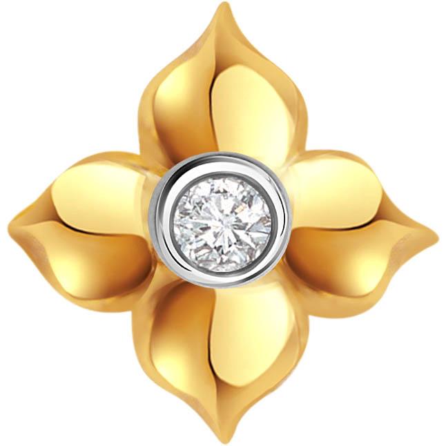 Golden Threesome Flower Shape Diamond Solitaire Pendants P -276 -Solitaire
