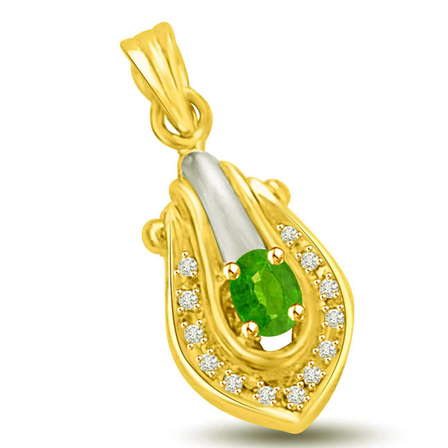 Golden Touch of Happiness Emerald & Diamond Two Tone 18k Gold Pendants for My Love