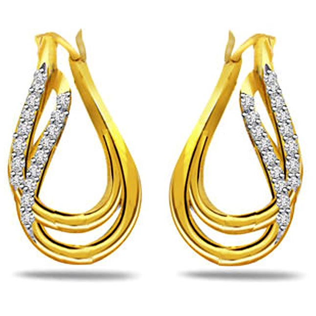 Golden Treasure 0.64ct Diamond & Gold Earrings -Designer Earrings