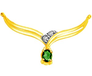 Gorgeous Green Diamond & Emerald Necklace Pendants DN119 -2 Tone Necklace Pendants + Chain