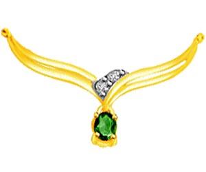 Gorgeous Green Diamond & Emerald Necklace Pendants DN119 -2 Tone Necklace Pendants + Chain
