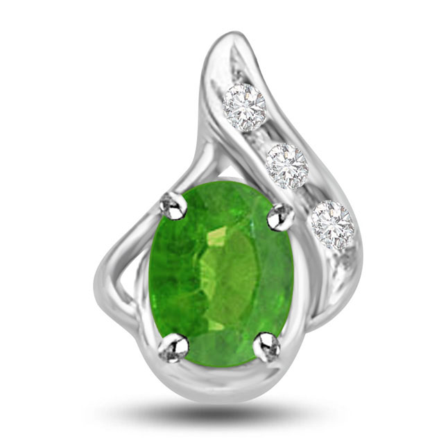 Gorgeous Green Drop 1.05 TCW Emerald Diamond Pendants In White Gold