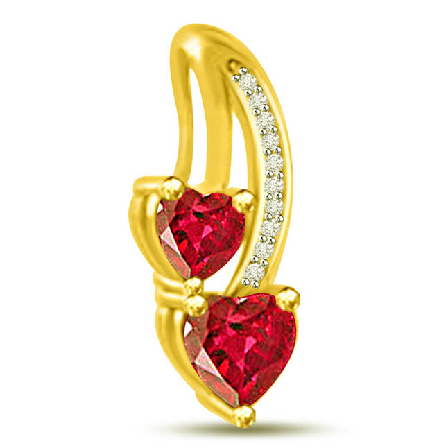Gorgeous Heart Shaped Red Ruby Diamond Pendants