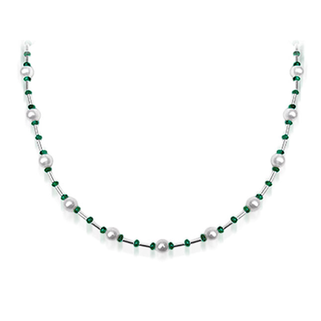 Gorgeous Girl - Single Line Freshwater Pearl, Emerald beads & Silver Plated Pipe Necklace for Women (SN201)