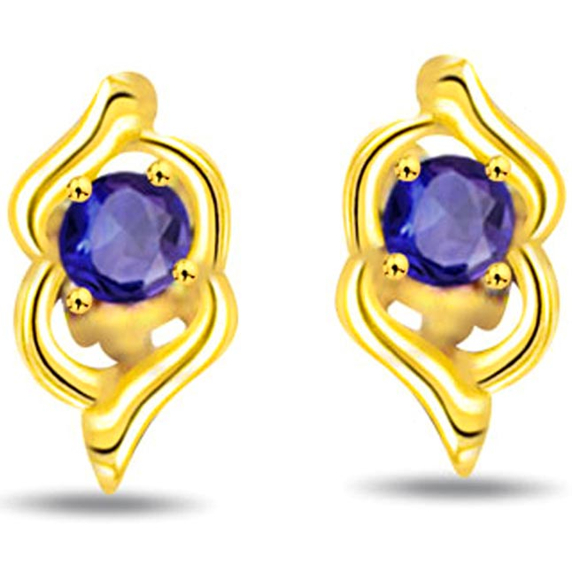 Graceful Gr eur 0.30 ct Round Sapphire Earrings -Dia & Gemstone