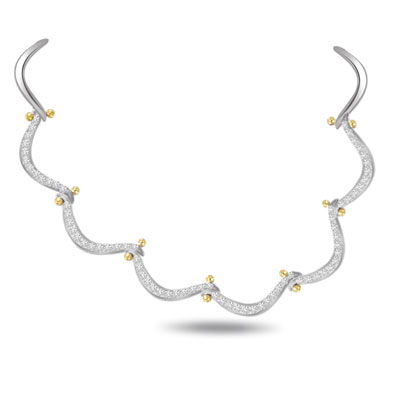 Gracious Curve 3.00ct VS Clarity Diamond Necklace -Diamond Necklace