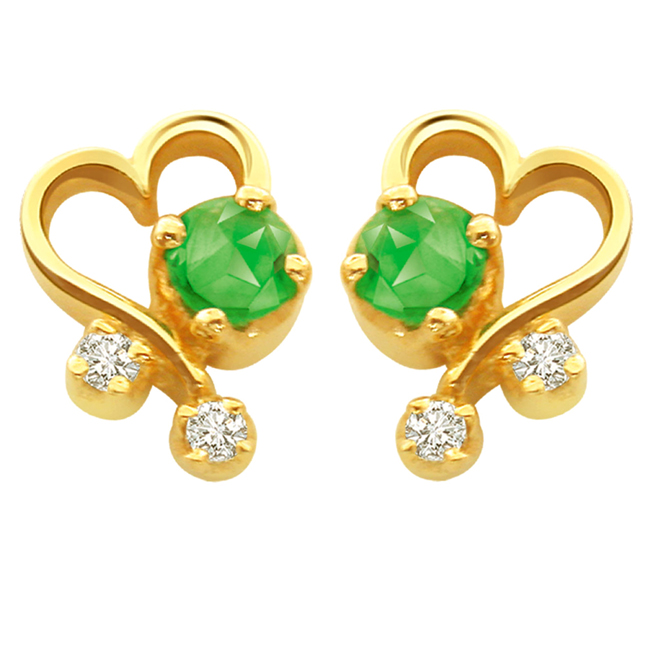 Green Beauty -Heart Shape Earrings