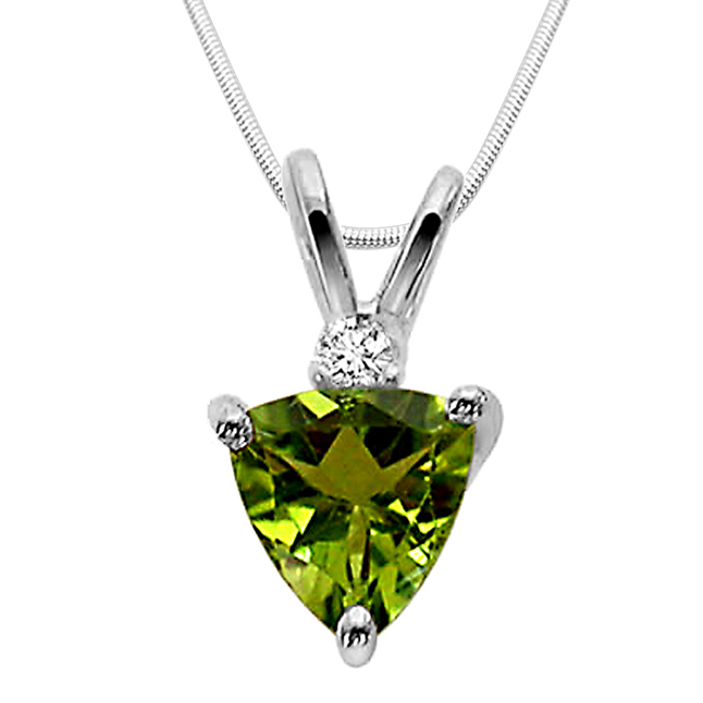 "Green Admirer -Green Peridot & Sterling Silver Pendants with 18"" Chain"