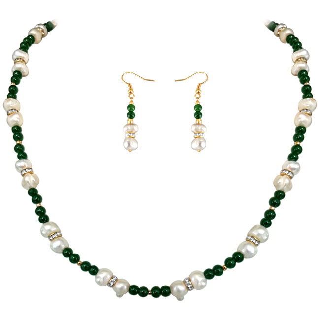 Green Adoration -Real Pearl & colored stone Set -Single Line