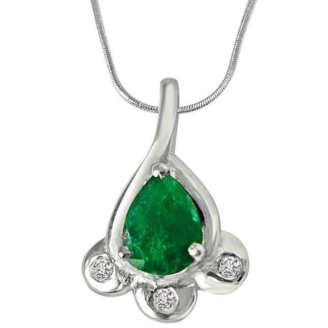 Green Bud - Real Diamond & Green Emerald Pendant in Sterling Silver with 18 IN Chain