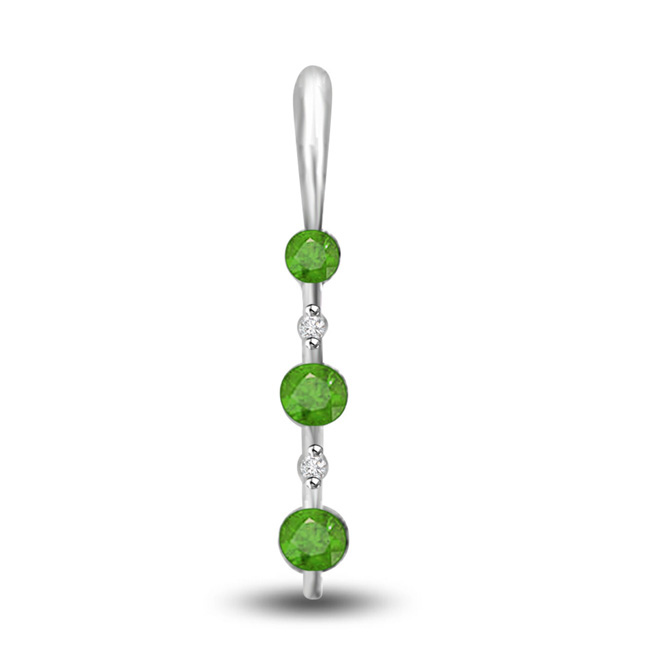 Green Delight Beautiful Emerald Drop Pendants In White Gold
