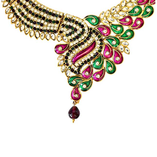Green & White Coloured Stone, Pink & Green Enamelled Gold Plated Necklace Earrings & Manga Tikka Set for Women