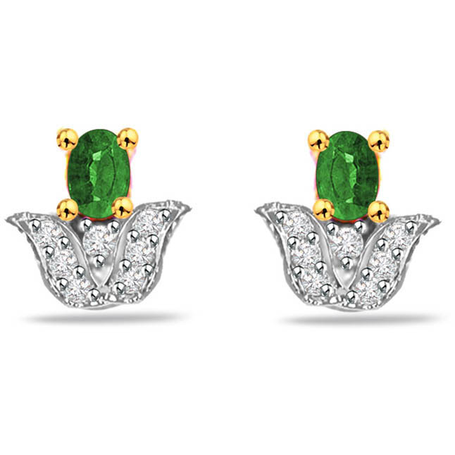 Green Garl 0.14ct Diamond & Emerald Gold Earrings -Designer Earrings