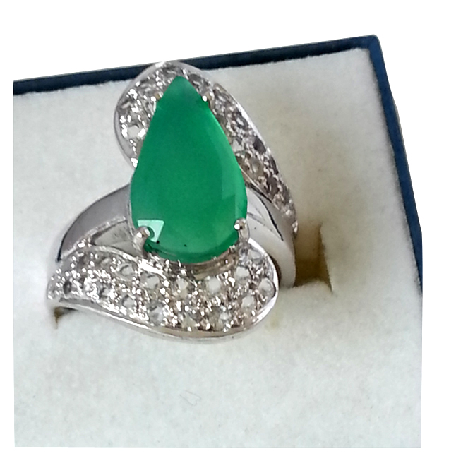 Gorgeous Green Onyx Silver rings