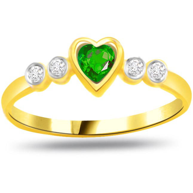 Green Heart Diamond & Emerald Heart rings SDR1106