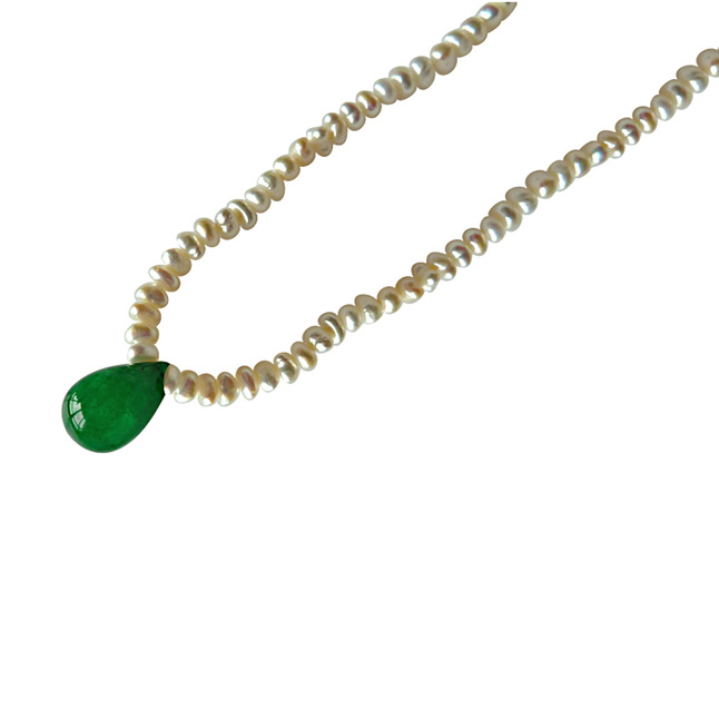 Real Drop Green Onyx and Freshwater Pearl Necklace for Women (SN491)