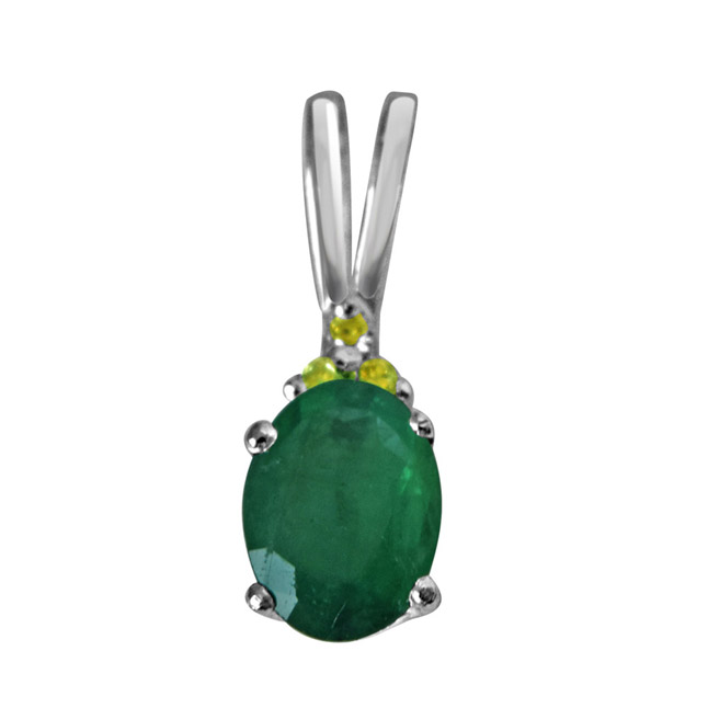 "Green Theme -Real Diamond & Green Emerald Pendants in Sterling Silver with 18"" Chain"