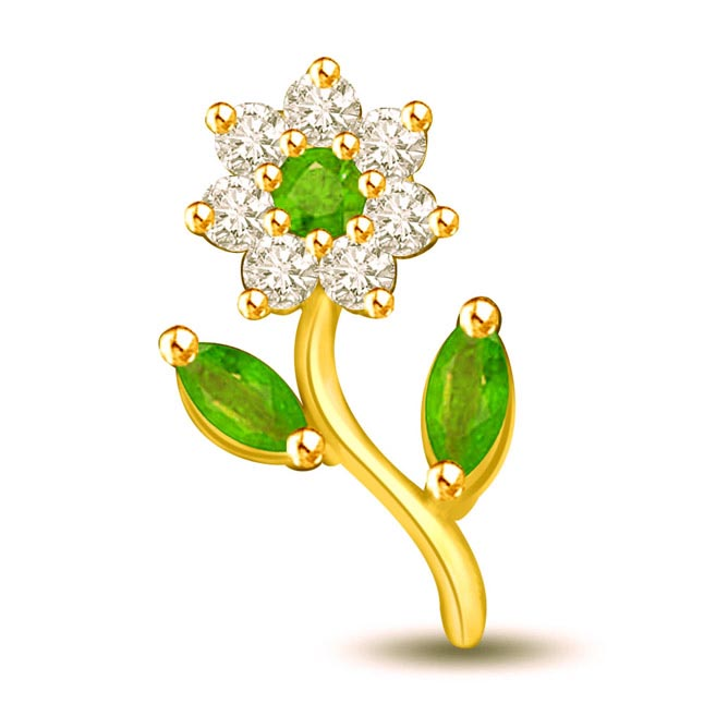 Greeny Flower Diamond & Emerald Pendants for Lady Love