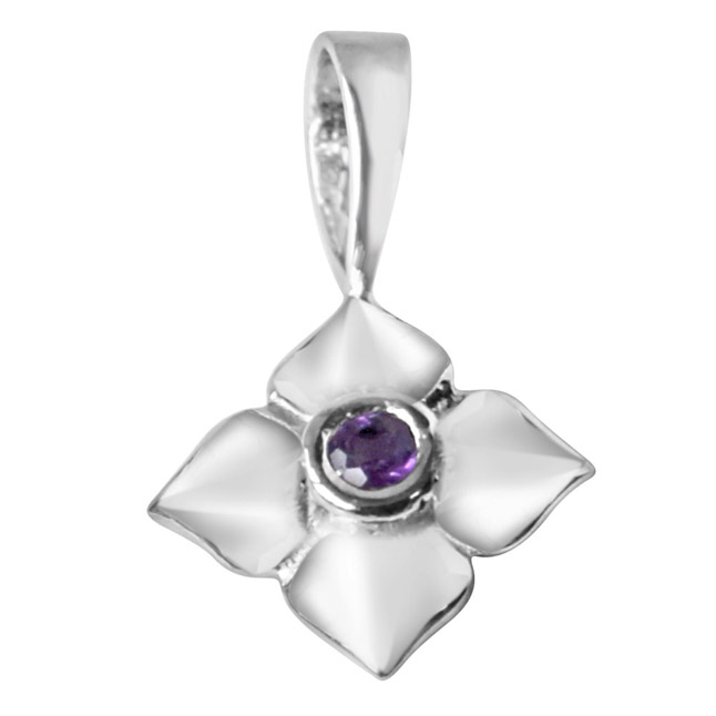 "Growing Flower Amethyst & Sterling Silver Pendants with 18"" Chain"