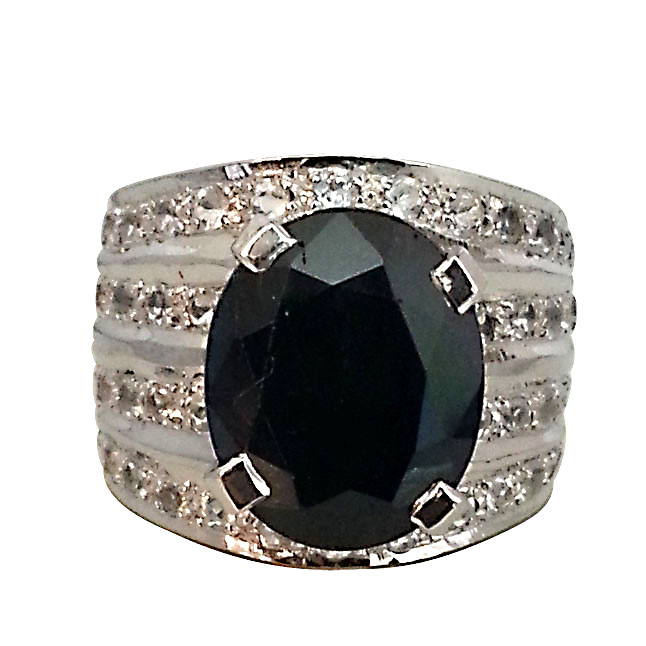 9.78 ct Dark Blue Sapphire & White Topaz rings for her