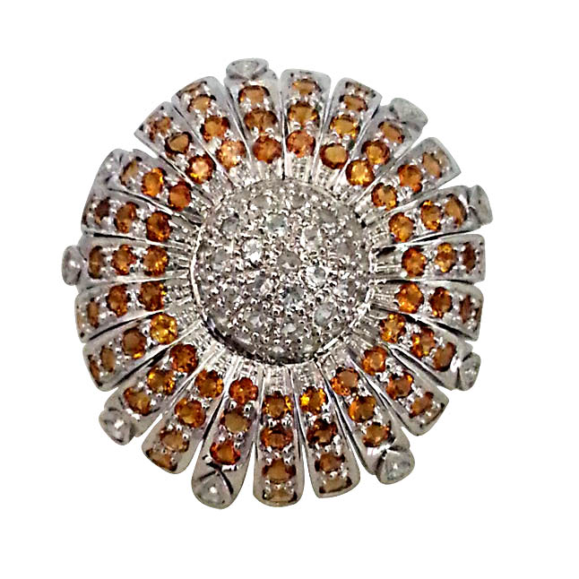 4.87 ct Citrin & Topaz Sunflower Ring in Silver for Lady love (GSR12)