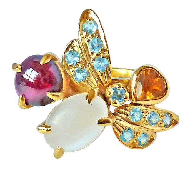 6.95ct Butterfly shape Moonstone, Garnet, Golden & Blue Topaz Sterling Silver gemstone Cocktail rings