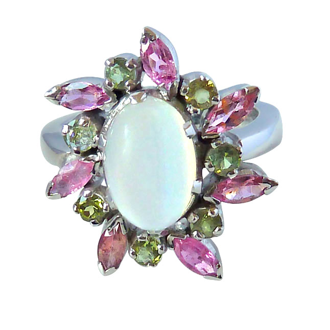 4.09ct Moonstone, Pink & Green Tourmaline Silver Cocktail rings for Your Love
