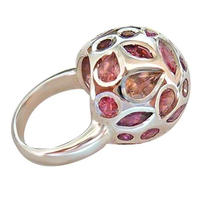 5.25cts Fine Natural Pink Tourmaline Dome Shape Sterling Silver rings