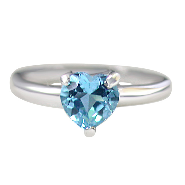 1.00ct Heart Shape Brilliant Swiss Blue Topaz Sterling Silver Love rings for Her