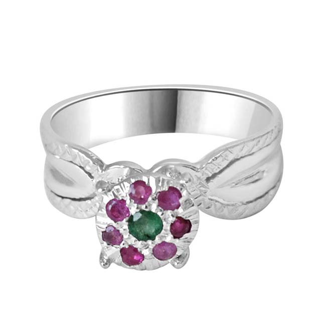 Royal Chicks Real Ruby & Green Emerald Ring in Sterling Silver (GSR47)