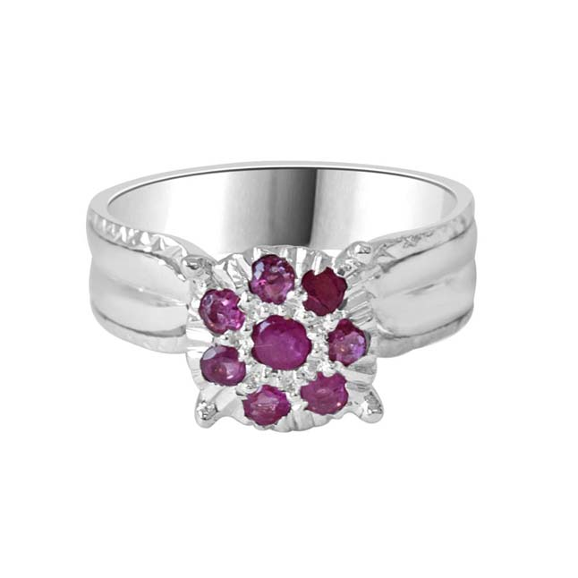 Silver Rose Real Ruby Ring in Sterling Silver (GSR48)