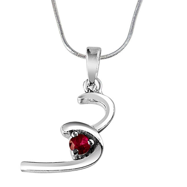 "Halfway To Paradise Red Ruby & Sterling Silver Pendant with 18"" Chain"