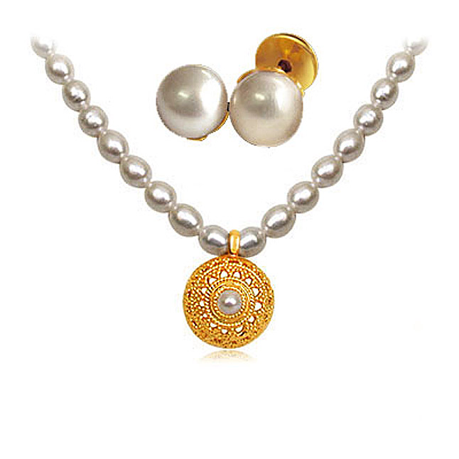 24kt Gold Plated Pendants & Freshwater Pearl Set -Pearl Set