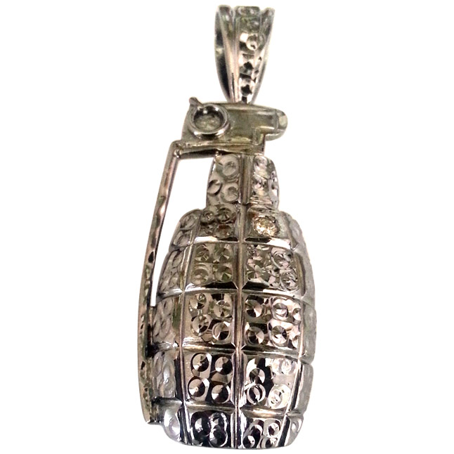 Real Diamond & Silver Black Rhodium Plated H Gernade Pendants