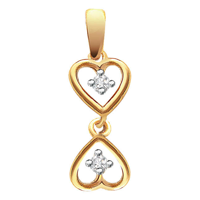 Hanging Happy Hearts -diamond Pendants| Surat Diamond Jewelry