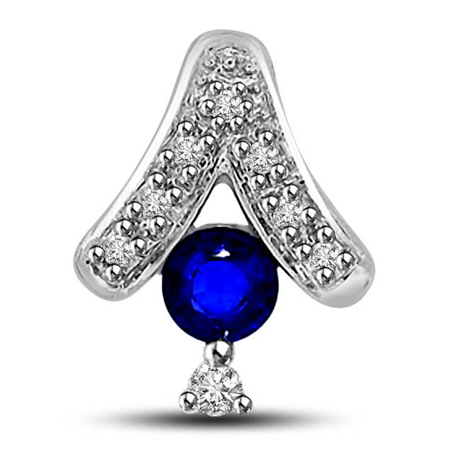 Hanging Solitaire with Stars 0.32ct Tcw Big Round Blue Sapphire & Diamond 14kt Pendants