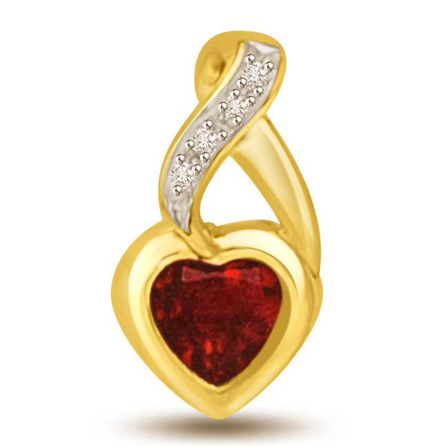 Heart Garnet & Diamond Two Tone Love Pendants for Her -Dia+Gemstone