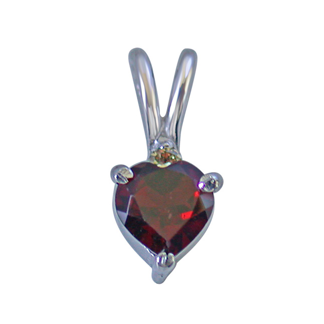 """Diamond & Heart Shape Garnet in 925 Silver Pendants with 18"""" Chain for Your Love"""