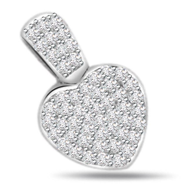 Heart Glitter -0.50ct Diamond Heart Shape 14kt Gold Pendants