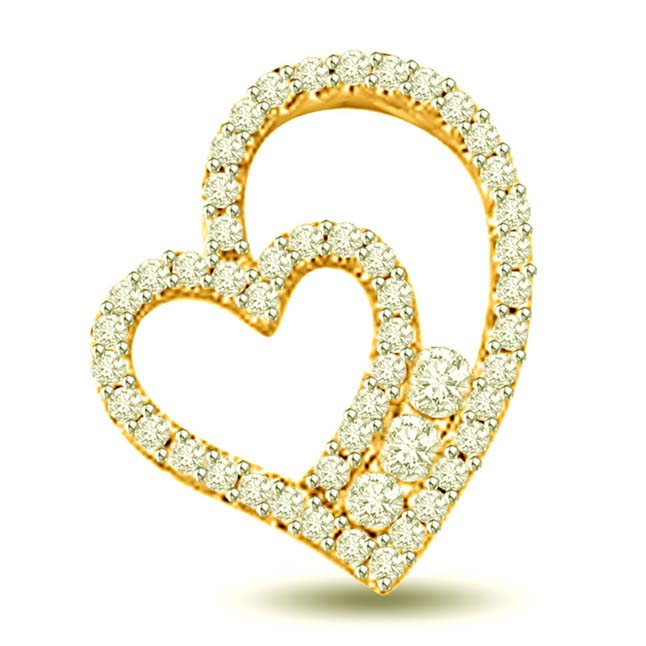 Heart in Heart 0.55ct 18k Diamond Pendants for My Love