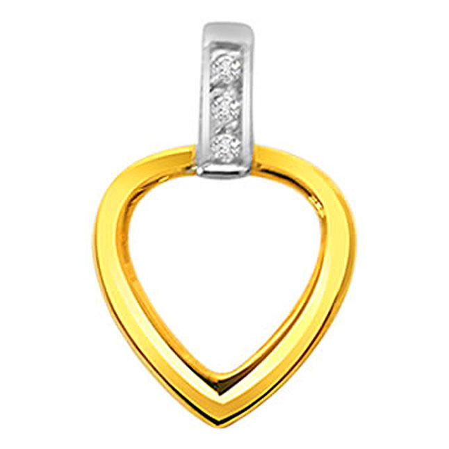 Heart of Phase -0.03 cts Heart Shaped Real Gold Diamond Pendants