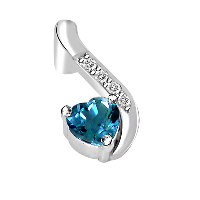 Heart Shaped Blue Topaz & Real Diamond Silver Pendant with 18 IN Chain