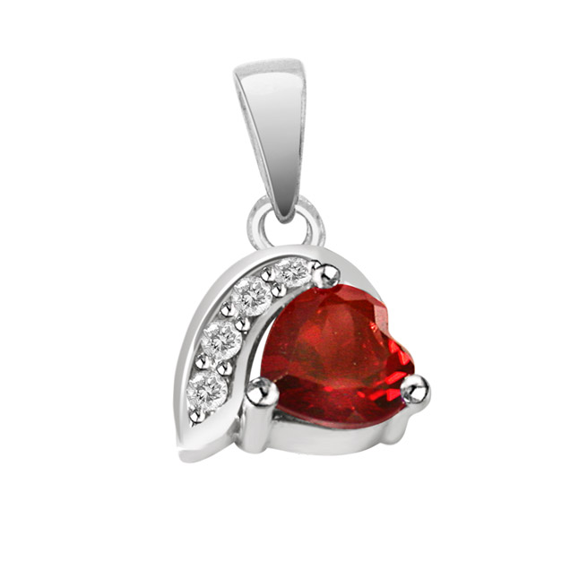 "Heart Shaped Red Garnet & Real Diamond Silver Pendants with 18"" Chain"