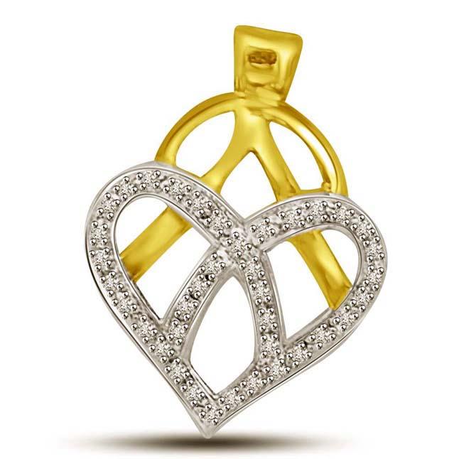 Heart's Delight Pendants of Diamond & Gold