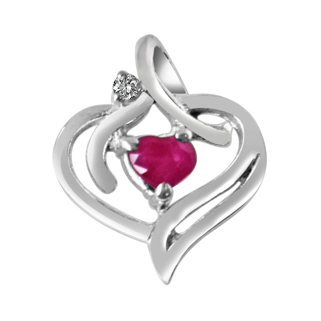 "Heart's Desire Real Diamond, Red Ruby & Sterling Silver Pendants with 18"" Chain"