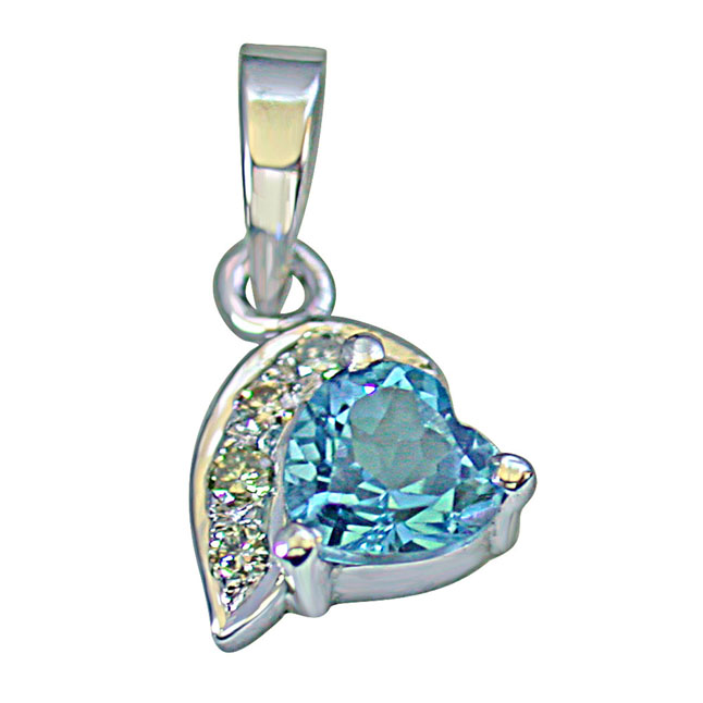 "Heart Shaped Swiss Blue Topaz & 4 Big Real Diamond 925 Silver Pendants with 18"" Chain"