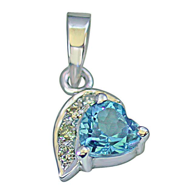 "Heart Shaped Swiss Blue Topaz & 4 Big Real Diamond 925 Silver Pendants with 18"" Chain"