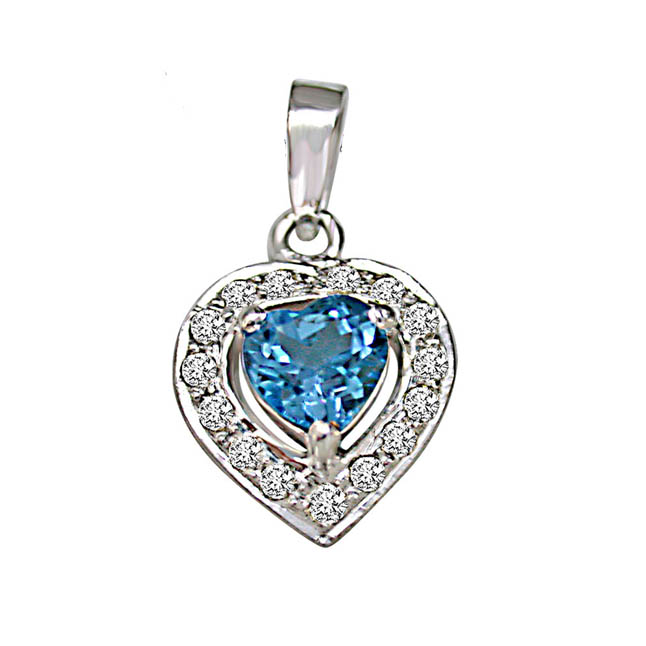 "Heart Shaped Blue Topaz & Real Diamond Pendants With 18"" Chain"