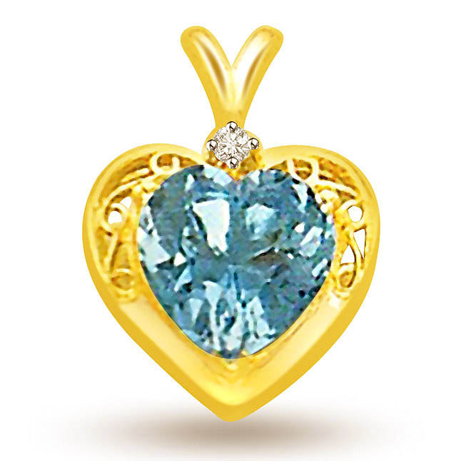 Heart Shape Blue Topaz & Diamond Pendants