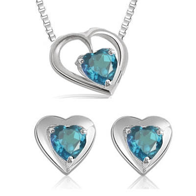 Heart Shaped Blue Topaz Earrings & Pendant with Chains -Gemstone Set